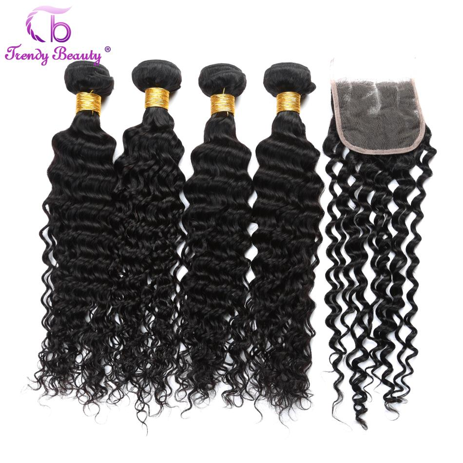 TRENDY BEAUTY Peruvian Deep Curly Human Hair Weave Bundles with Closure 4Pcs with Lace Closure In Total 5Pcs Color 1B Non-remy
