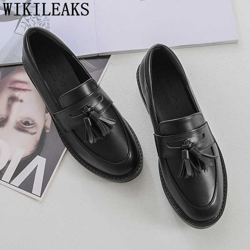 harajuku shoes loafers women	fringe black shoes for women flat shoes women fashion comfortable zapatos oxford mujer buty damskie