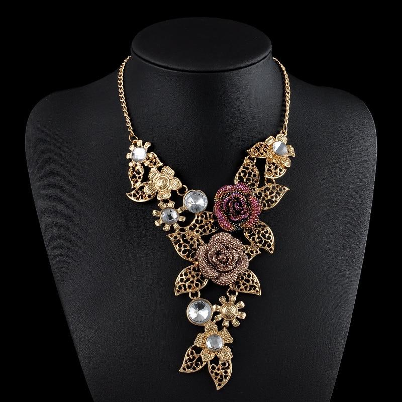 7581e18a41e2e ارتفع لون الذهب حجر الراين الأوروبي خمر قلائد رابط اكسسوارات المختنق قلادة  ماكسي النساء بيان المجوهرات