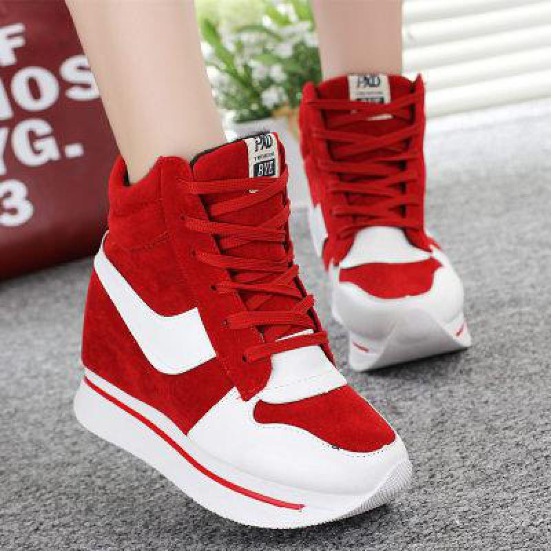 New 2016 Height Increasing Women Shoes High Top Ladies Canvas Casual Shoes Elevator Thick Sole Lace-up Platform Wedges High Heel free shipping new arrival white height increasing women s high heel platform canvas shoes women solid color