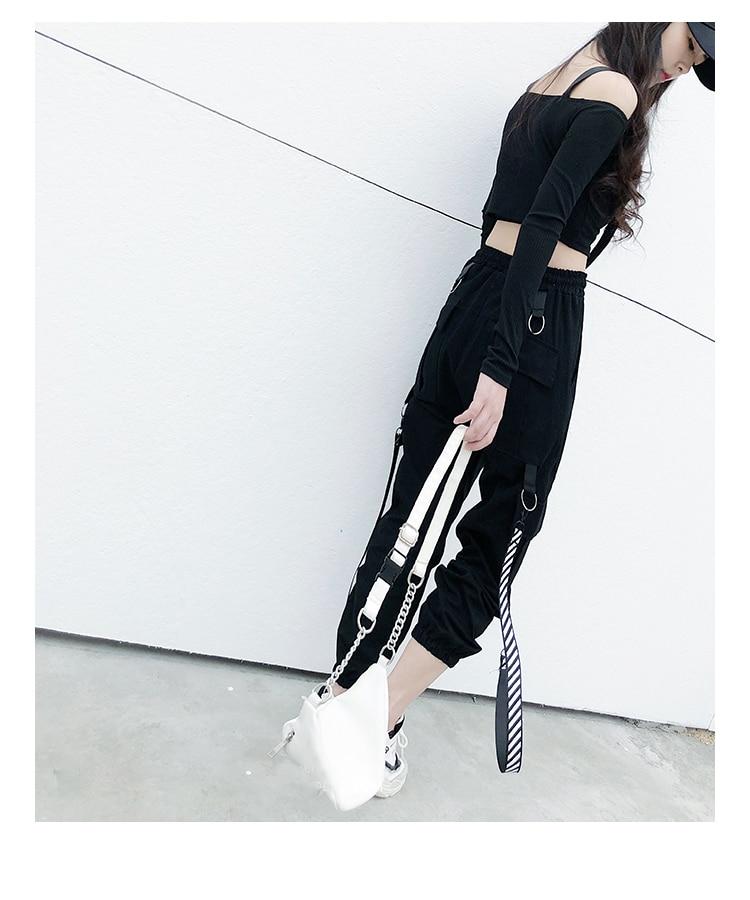 coreano streetwear hip hop pantalon mujer