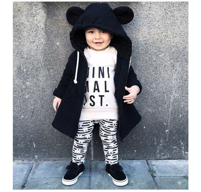 47feb81cd855 Boys Jacket Black Lovley Bear Hoody Autumn Coat Long Sleeve Unisex ...
