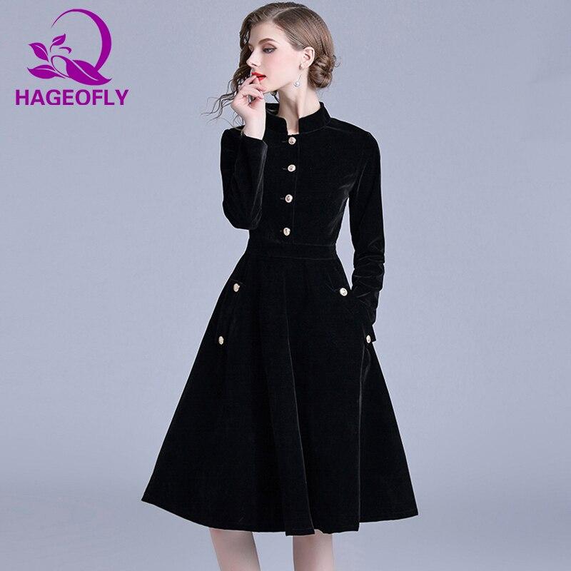 HAGEOFLY Automne Nouveau Vintage Robe En Velours À Manches Longues Robes De Bal Célébrité Élégante Soirée Vestidos femmes Vêtements