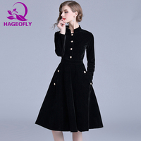 HAGEOFLY Autumn New Vintage Velvet Dress Long Sleeve Ball Gown Dresses Elegant Celebrity Evening Party Vestidos Women's Clothing