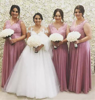 Plus Size Bridesmaid Dresses V Neck A Line Appliques Chiffon Long Bridesmaid Gowns 2018 High Quality Women Wedding Party Dress