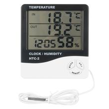 LCD Electronic Temperature Humidity Meter Indoor Outdoor Digital Thermometer Hygrometer Weather Station Alarm Clock HTC-2