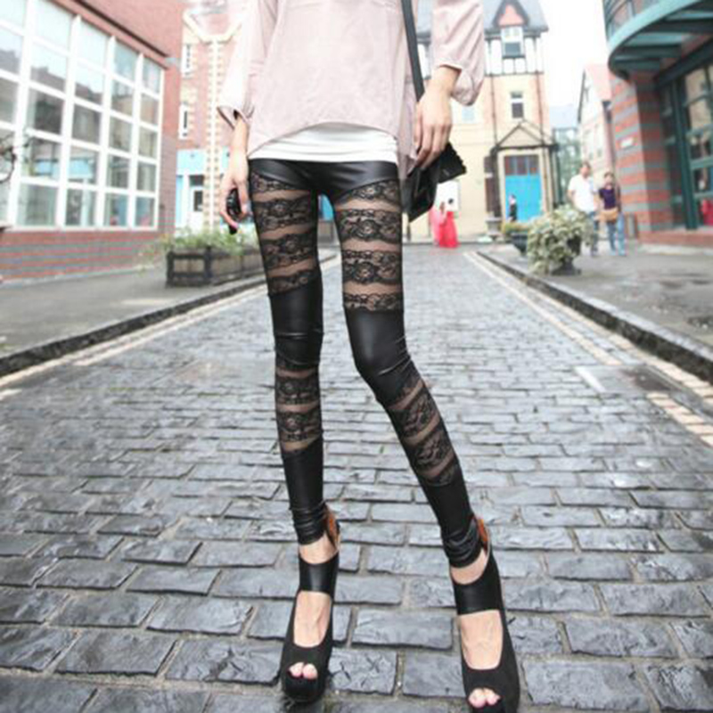Fashion Rock Gothic Black Lace Rose Floral Pattern Hollow Stitching   Leggings   Rock Punk Stylish Slim PU Leather Pants For Women