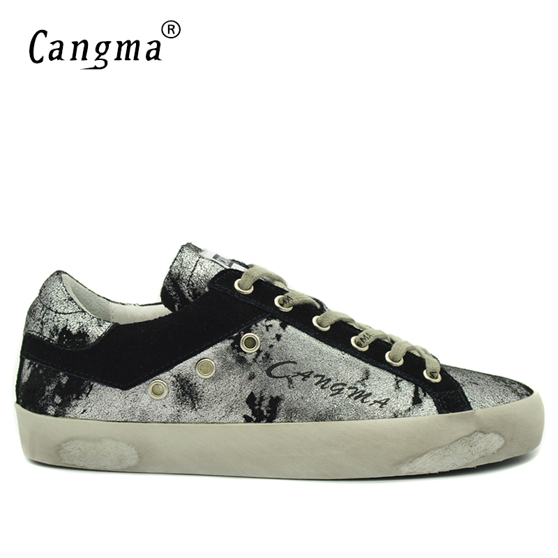 CANGMA итальянский дизайнер Спортивная обувь Мужская обувь серебристый, Черный Повседневная обувь Человек Пояса из натуральной кожи Модная д...