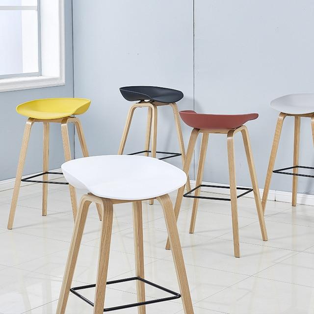 Bar Stool Nordic Solid Wood Chair Danish Designer High Creative Front Desk