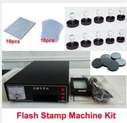 3 lampade 110 V/220 V Fotosensibile Ritratto Flash Stamp Macchina Kit di Auto-inchiostrazione Che Fanno di Tenuta 10Pcs supporto Pellicola Pad (SENZA Inchiostro)