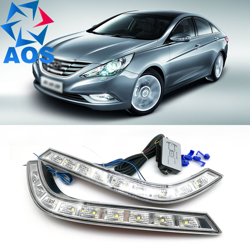 2PCs/set freeshipping LED Car DRL Daytime Running Light fog lamp for Hyundai Sonata 8 2010 2011 2012 2013 hot sale abs chromed front behind fog lamp cover 2pcs set car accessories for volkswagen vw tiguan 2010 2011 2012 2013