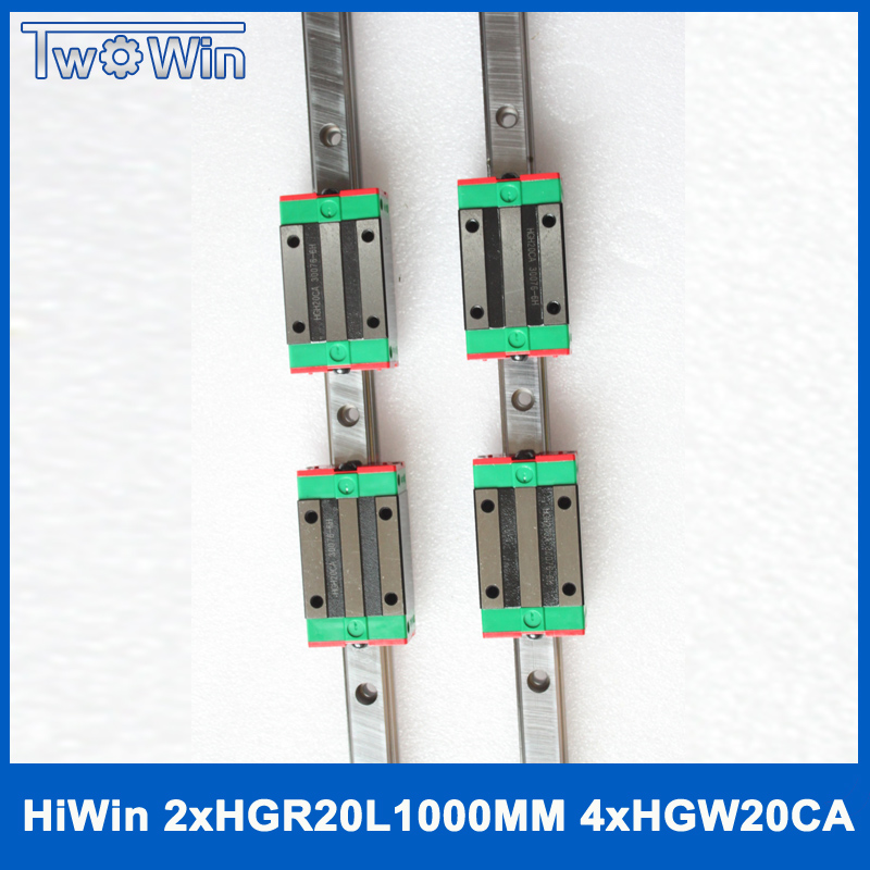 HIWIN 2PCS HGR20 L1000mm CNC1000mm Guide Linear CNC Kit 4PCS HGW20CA CNC Block