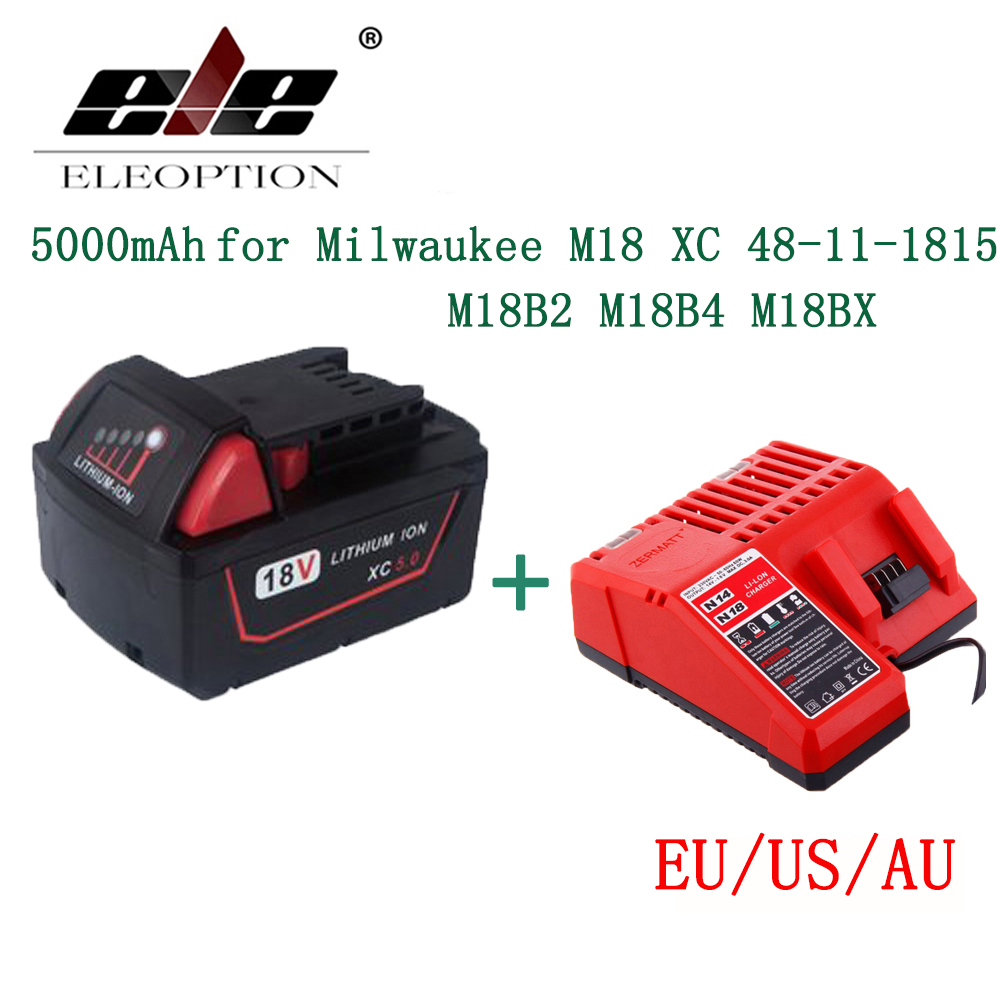 ELEOPTION 5000mAh 18V Li-Ion Replacement Power Tool Battery for Milwaukee M18 XC 48-11-1815 M18B2 M18B4 M18BX M18BX With Charger high quality brand new 3000mah 18 volt li ion power tool battery for makita bl1830 bl1815 194230 4 lxt400 charger