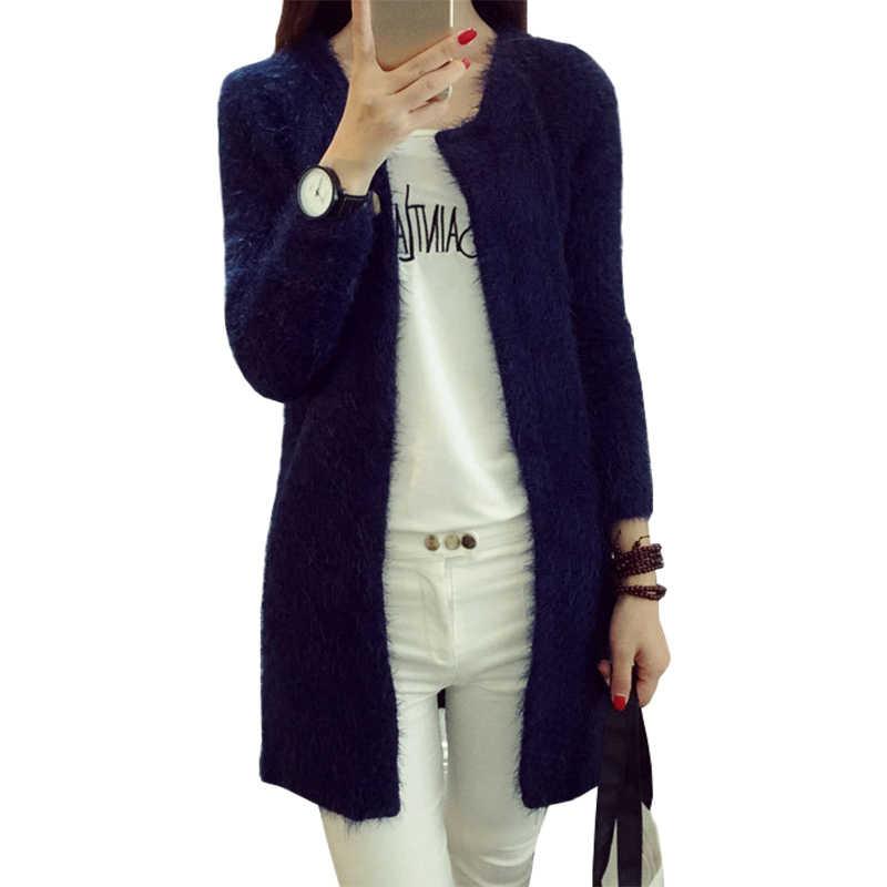 خريف شتاء طويل سترة معطف جديد الكورية فضفاض البلوز بأكمام طويلة موهير سترة منسوجة تريكو سمكا الإناث الملابس Vestidos LXJ289