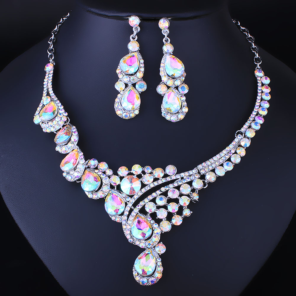 FARLENA Jewelry Multicolor Crystal Rhineatones Necklace