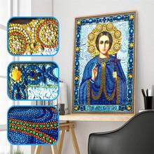 5d Diy Diamond Cross Emblem Religious Character Icon Crystal Mosaic Special Shaped Embroidery Rhinestone