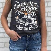 Кантри роуд Take Me Home Tank летняя футболка с буквенным принтом для женщин топ без рукавов Мода Deepgray топы на бретелях Женский Топ тройник