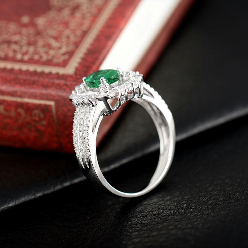 Yeni Dizayn Oval 5x7mm Təbii Zümrüd Diamond Ring 18K Ağ Qızıl - Gözəl zərgərlik - Fotoqrafiya 5