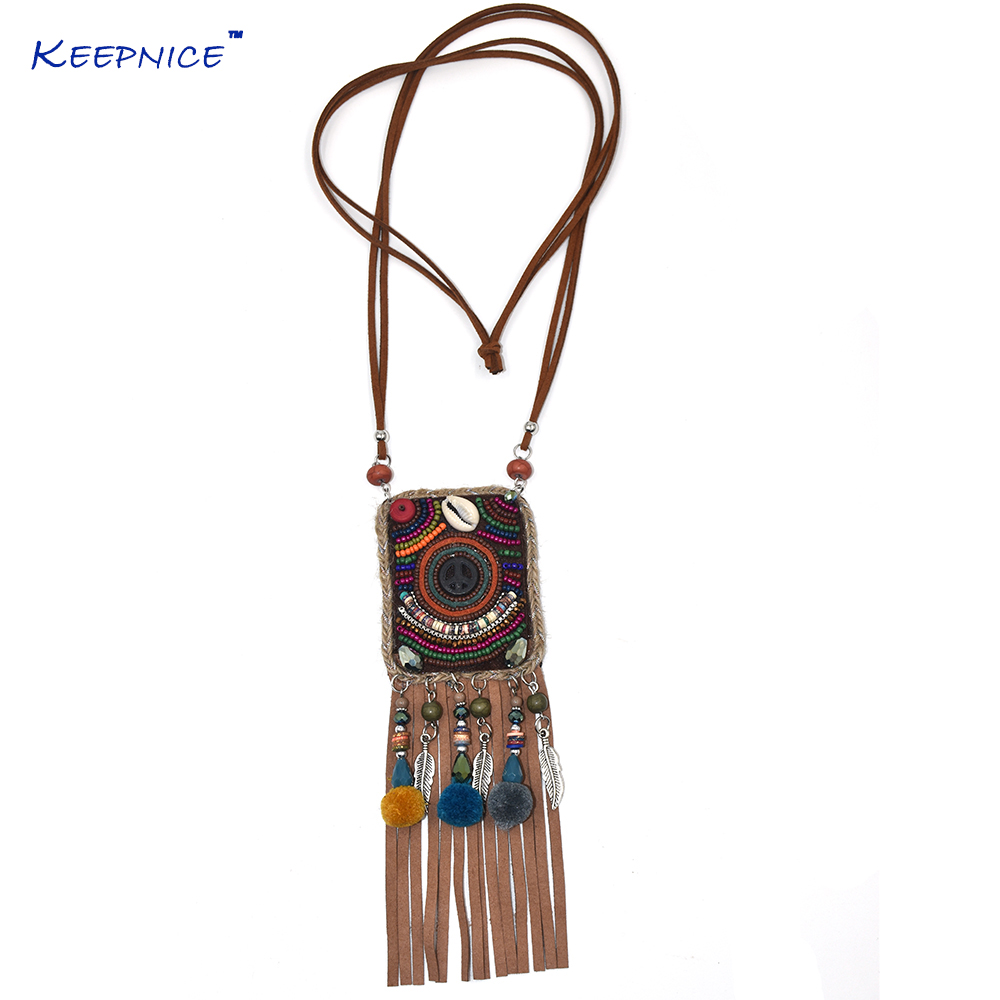 Handmade Ethnic Boho Chic Bohemia Beads Chain Leather Tassel Pendent Necklce Long Fringe Tassel Pompous bag Pendant Necklaces