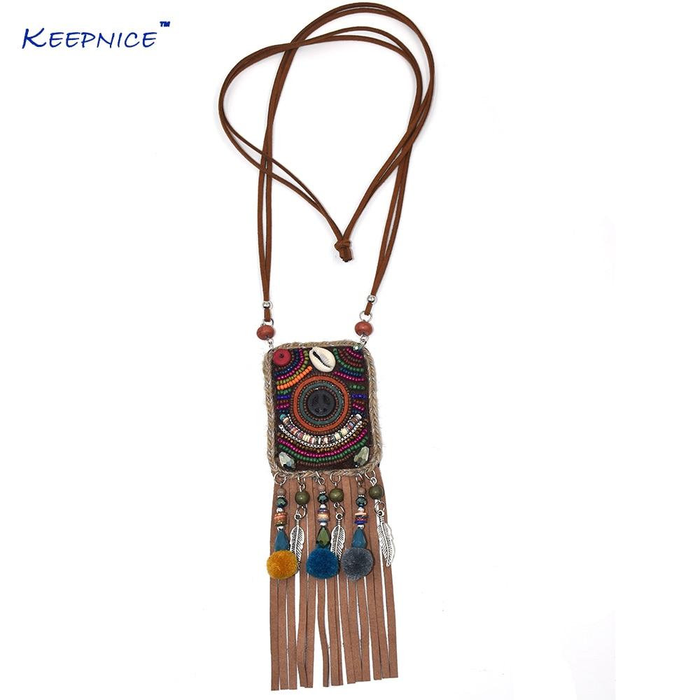 Fait à la main ethnique Boho Chic bohême perles chaîne en cuir gland pendentif collier longue frange gland pompeux sac pendentif colliers