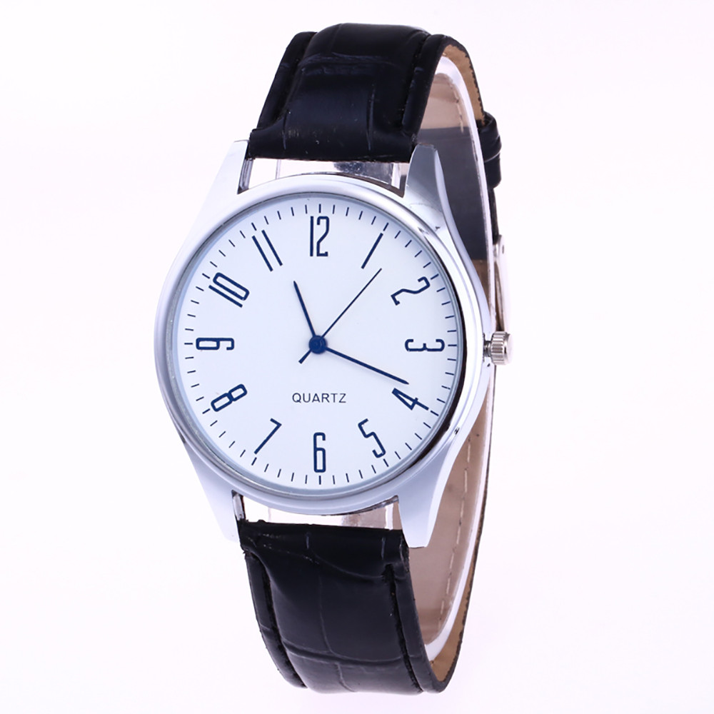 2020 Fashion Men's Leather Watch #0019 Casual Digital Scale White Blue Alloy Dial Business Quartz Wrist Watch Gift Bayan Saat A5
