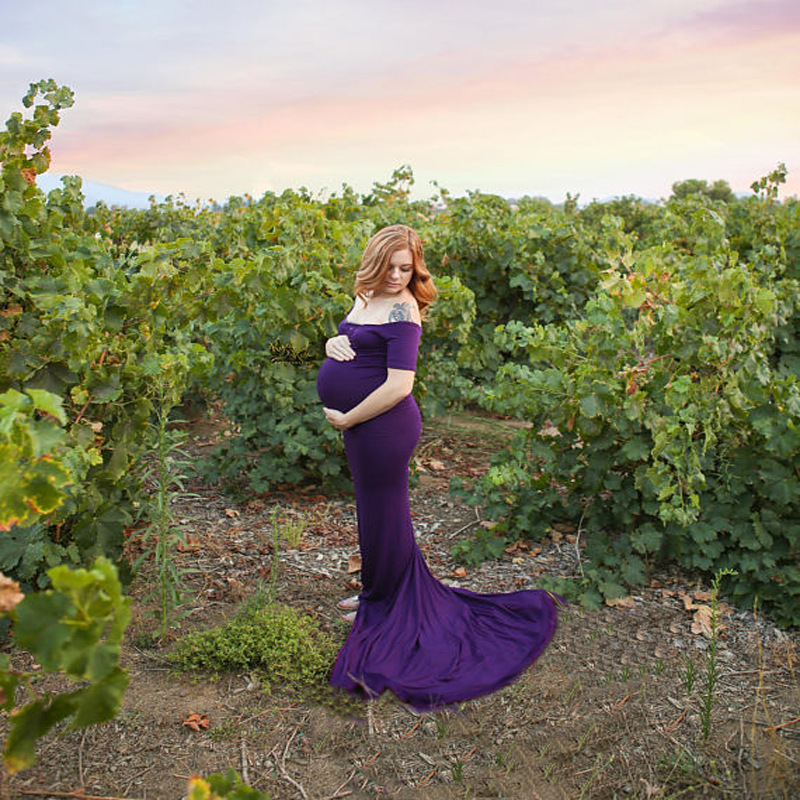2018 New mermaid Maternity Clothing Photography Props Woman Maxi Dress Floral Long Length Clothes for Pregnant Women Pregnancy mermaid fishtail gold metallic cap sleeve 2016 women new celebrity evning party floor length maxi rayon bandage dress sy 105