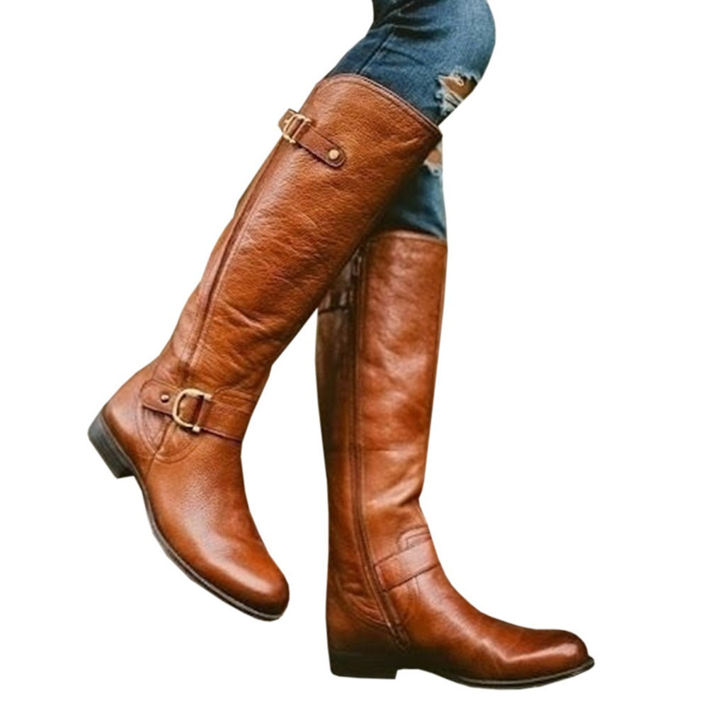 6c958426698f Knee High Women Boots Zipper Motorcycle Boots Low Heels 3cm Fringe ...