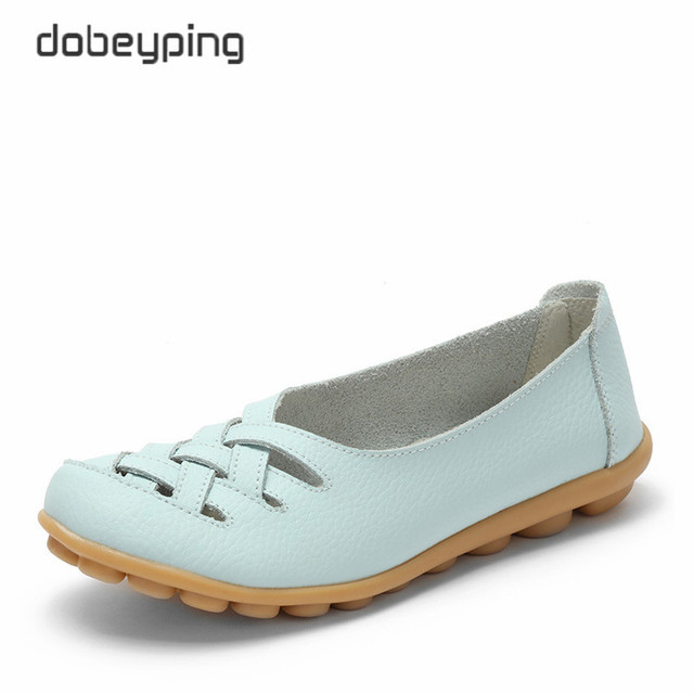 New Women's Casual Shoes Genuine Leather Woman Loafers Slip On Female Flats Leisure Ladies Driving Shoe Solid Mother Boat Shoes