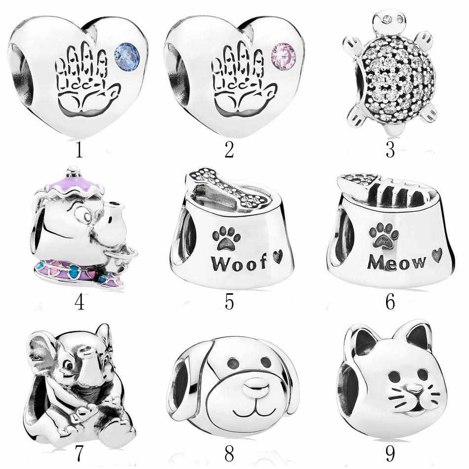 Подлинный 925 серебряный DIY Ювелирная миска для кошек и собак Woof Meow черепаха слон Potts талисманы fit Pandora браслет
