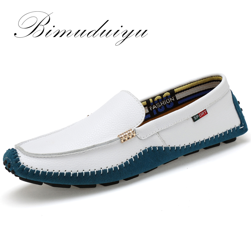 BIMUDUIYU Big Size High Quality Genuine Leather Men Shoes Soft Moccasins Fashion Brand Men Flats Comfy Casual Driving Boat38-47 men luxury brand new genuine leather shoes fashion big size 39 47 male breathable soft driving loafer flats z768 tenis masculino