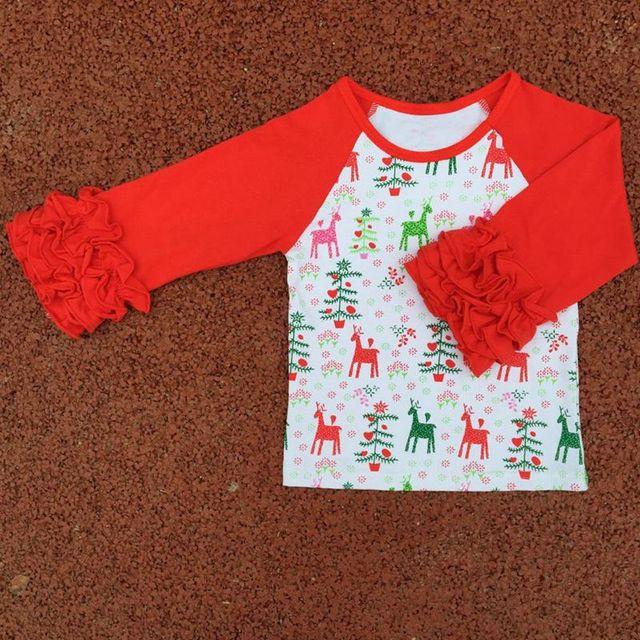 toddler girls christmas reindeer icing shirtsgirls christmas raglans tops icing shirtsholiday - Girls Christmas Shirts