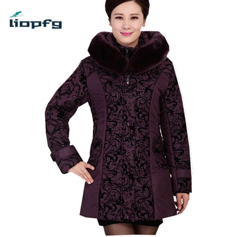 2017 Middle-aged winter jacket women Thicken Warm Cotton-padded Slim Plus Size Fur Collar winter Coat Women Parka wm305 2017 middle aged winter jacket women thicken warm cotton padded slim plus size 6xl winter coat women parka high quality