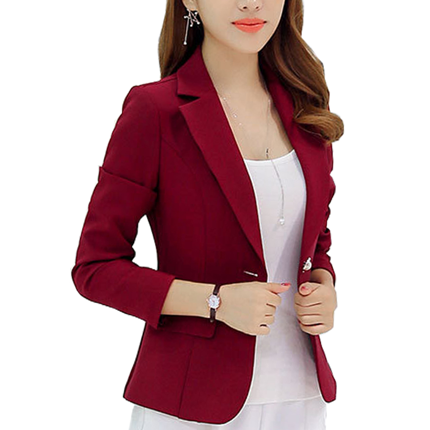 New Long Sleeved Slim Women Blazers And Jackets Small Women Suit Korean Version (Gray/Blue/Wine ...