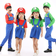Super Mario Costume Kids Luigi Cosplay Girl Halloween For Boys Carnival Party Clothing Suit