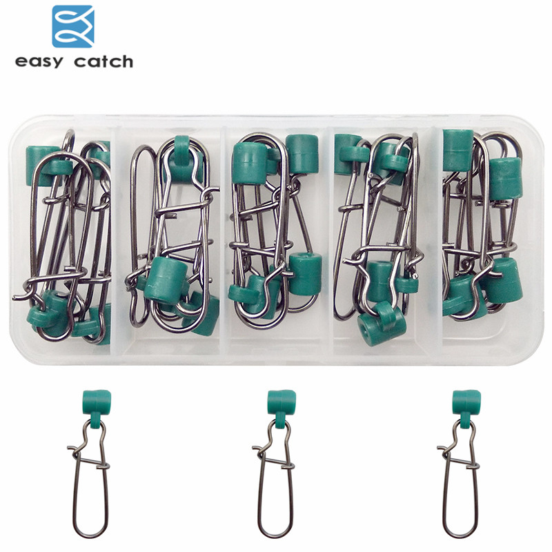Easy Catch 20pcs Green Plastic Head Swivel With Nice Snap Fishing Sinker Slide Swivels Braid Fishing Line Slider Set With Box