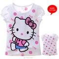 Hello Kitty Girls T Shirt Fashion Summer Short Sleeve Polka Dot Cartoon Rhinestone Baby Kids T-shirt Children Tops Tees Clothes