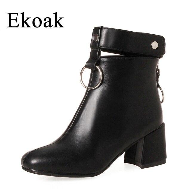 Ekoak/Новинка Ботильоны из осенней коллекции 2017 года Женская мода молния мотоботы женские кожаные резиновые сапоги женские туфли на высоком каблуке женщина