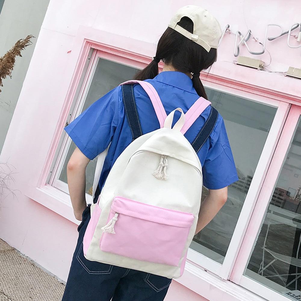 b3082d7a84ac 2018 Canvas Pure Color School Backpack Adolescent Girl Female Best Travel  Women Backpack Shoulder Bag Rucksack Mochila Bagpack-in Backpacks from  Luggage ...