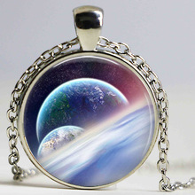 Free shipping Hot Fashion Cosmic Necklace,Astronomy Geek Jewelry,Space Star Nebula Art Glass Dome Pendant Necklace