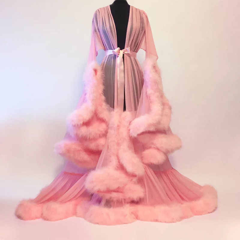 aace758508 Mingli Tengda Bridal Boudoir Robe Purple Feather Bridal Sheer Robe Tulle  Illusion Long Wedding Party Feather Robe Costume Cloak