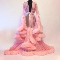 Mingli Tengda Свадебные будуар халат фиолетовый перо Свадебный Sheer халат Тюль Иллюзия Длинные Свадебная вечеринка платье с отделкой плюшем костю