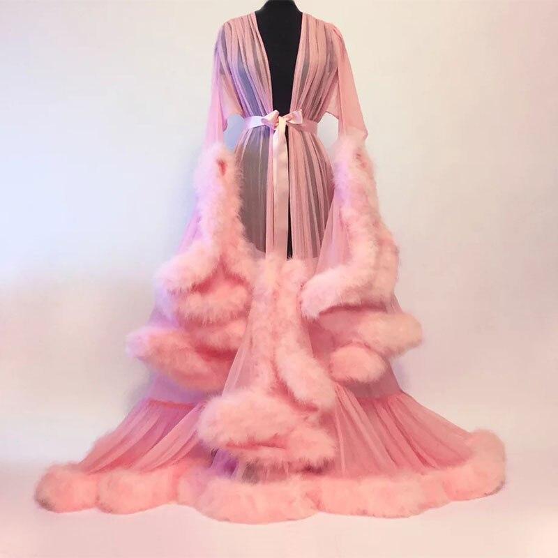 Mingli Tengda Bridal Boudoir Robe Purple Feather Bridal Sheer Robe Tulle Illusion Long Wedding Party Feather Robe Costume Cloak