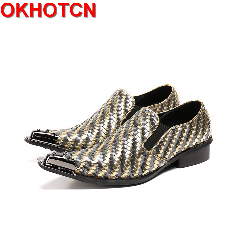 Plus Size 46 Shoes Men Metal Pointed Toe Shallow Man Dress Wedding Shoes Slip On Designer Plaid Printed Genuine Leather Flats luxury fashion men crystal flats metal pointed toe huarache slip on wedding shoes man 36 46 chaussure homme sapato masculino