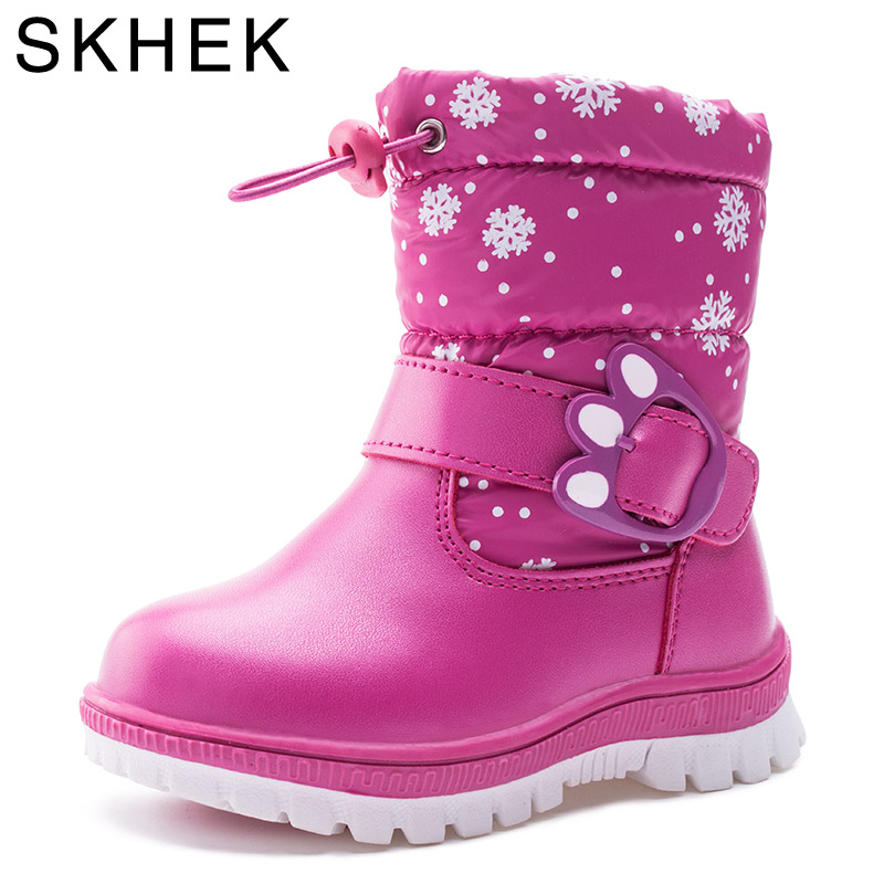SKHEK kids boots girls winter shaggly kids boots boy with leather ankle length and rubber snow
