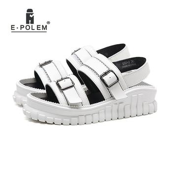 2018 Summer New Woman Harajuku Style Roman Leather Sandals Fashion Casual Loose Platform Cross Straps Sandal Shoes Black/White