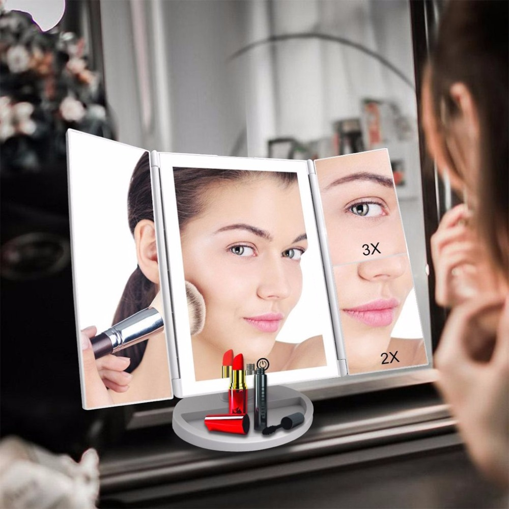 4 in 1 LED Touch Screen Makeup Mirror Folding table Mirror Lights 1X 2X 3X 10X Magnifying Mirrors USB Lamp Beauty Make up Tool 220v 10x desk clip on led illuminated green optical big magnifying glass led lamp folding stand large magnifier with led lights