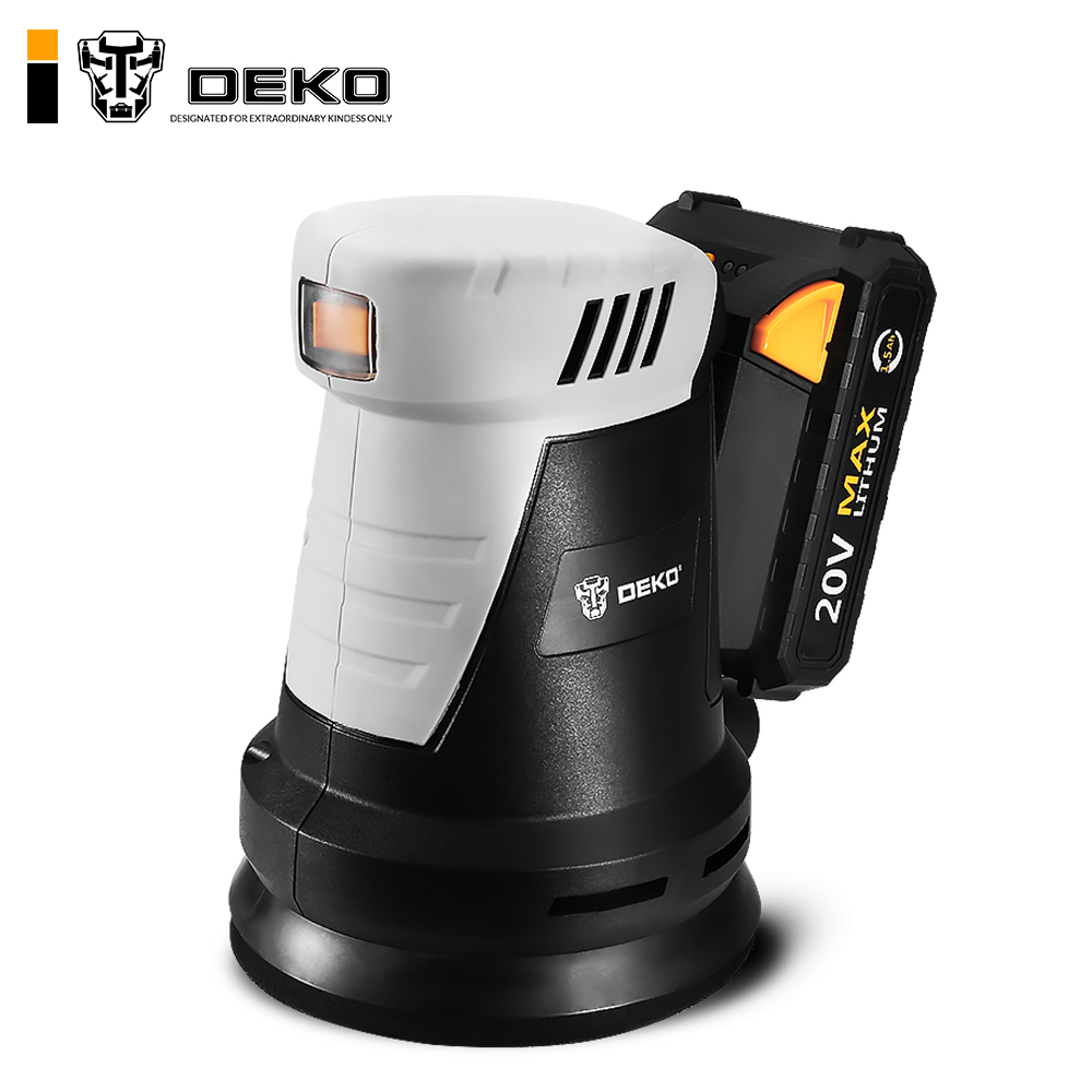 DEKO QD6203 20V Cordless Random Orbit Sander With 15 Sheets Of Sandpaper And Hybrid Dust Canister Lithium-Ion Battery 10,000/min