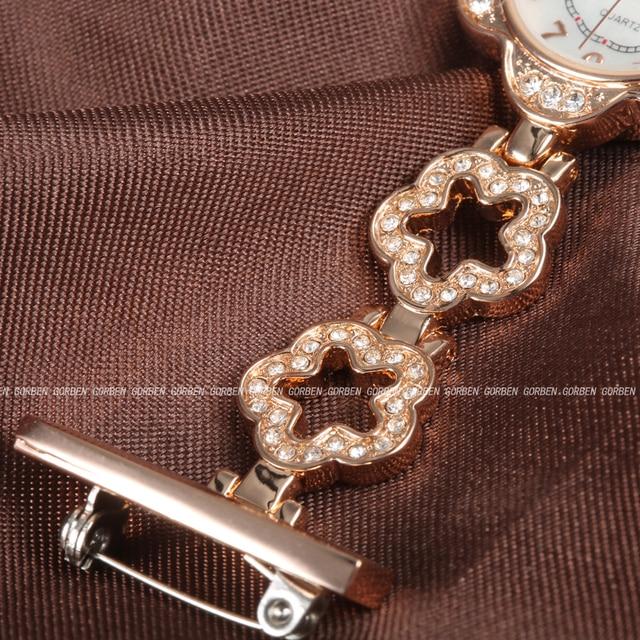 Especial Estilo Elegante Em Forma de Flor Rosa de Ouro Broche Nurse Relógios de Bolso de Quartzo de Aço Inoxidável de Cristal Presentes Mulheres saat