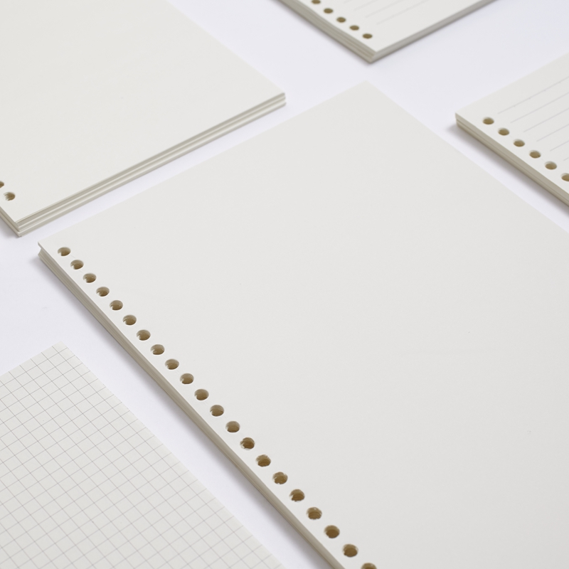 45 or 60sheets A4 30 holes, A5 20 holes, B5 26 holes woodfree paper, lined/check/blank loose leaf paper