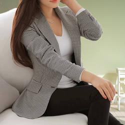 Костюм, пиджак в клетку женские осенние новые женские костюмы Корейская версия длинный участок решетки с длинными рукавами Универсальный